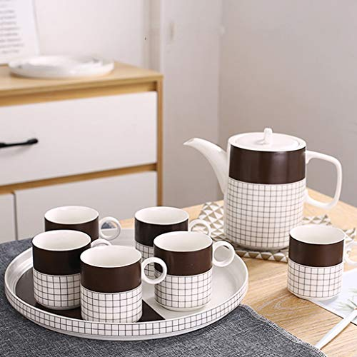 Find Discount Ceramic Tea Set Home Living Room Coffee Cup Tea Cup Decoration | Blue And Brown (Color : Brown)