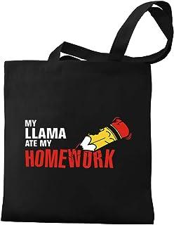 Eddany My Llama ate my homework Canvas Tote Bag