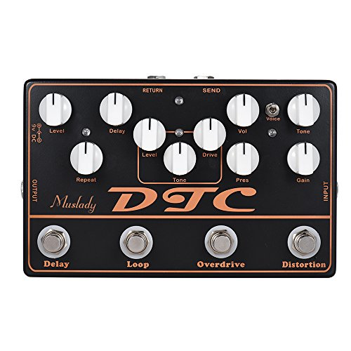 ammoon Electric Guitar Effects Pedal Distortion + Overdrive + Loop + Delay DTC 4-in-1 Effect Pedals