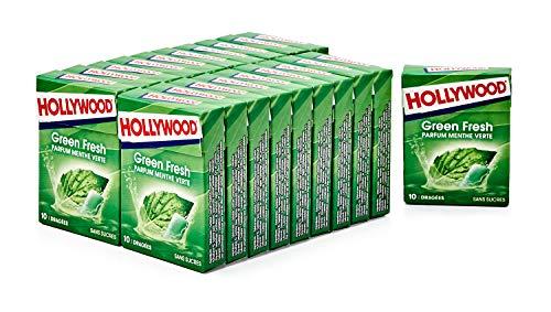 Hollywood Chewing Gum Green Fresh - Parfum Menthe Verte - Sans Sucres avec Édulcorants - Lot de 20 paquets de 10 dragées (14 g)