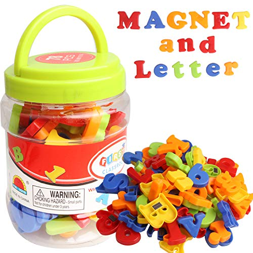 Magnetic Letters and Numbers Toys, 78 Pcs Colorful Plastic Fridge Magnets ABC Alphabet 123 Educational Toy Set Preschool Learning Spelling Counting Uppercase Lowercase Math Symbols for Toddler Kids