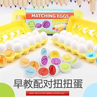 Matching Egg Set, 12PCS Color&Shape Matching Egg Set Montessori Toys For Toddlers 3D Egg Puzzle Sorter Toy Smart Egg Toys ...