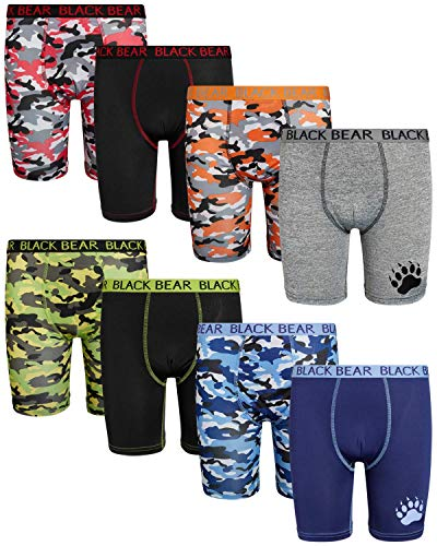 Black Bear Boys Performance Dry-Fit Compression Long Boxer Brief (8 Pack), Camo/Solids, Size Medium (8/10)'