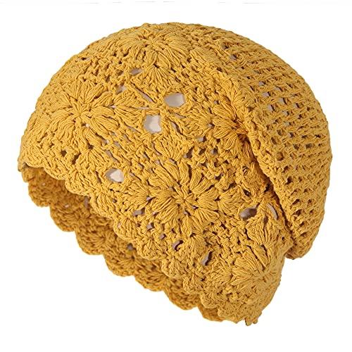 ZLYC Primavera Otoño Manual Tejer Gorros de Punto Beanie para Mujer(Uni Amarillo)