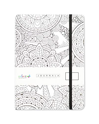 "ColorIt Circle Notebook Journal 5.8"" x 8.2"", A5, 160 Dot Grid Pages, Hardcover, Matte Cover Finish, Elastic Band, Inner Pocket, Bookmark, Perforated Pages, Perfect for Bullet Journaling"