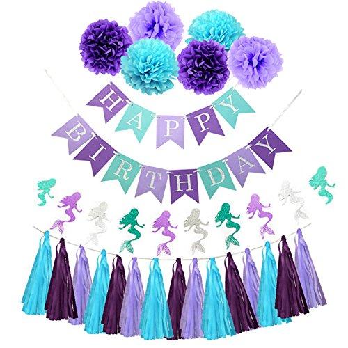 Sogorge Purple Teal Mermaid Party Supplies Mermaid Blue Purple Tissue pom poms Glitter Paper Garland Teal Purple Happy Birthday Banner Tassel Garland Mermaid Birthday Decorations