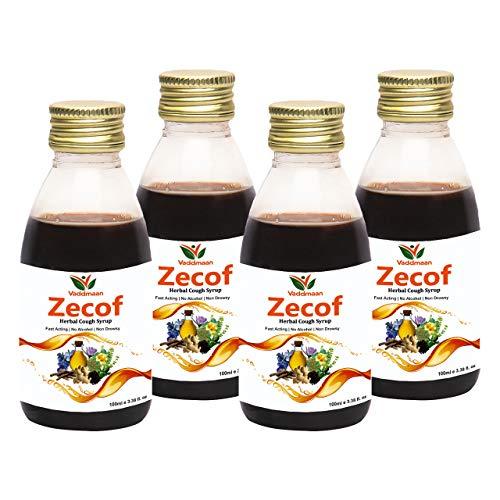 Vaddmaan Zecof – 100ML (Pack of 4) Pure Herbal & Natural Ayurvedic Cough & Cold Syrup With Tulsi, Saunth, Yashthimadhu, Karkasingi, Somlata, Kaantakari Neelgiri & Peppermint