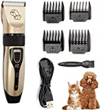 Dog Grooming Clipper Kit, Low Noise, Electric Quiet, Rechargeable, Cordless, Pet Hair Thick Coats Clippers Trimmers Set, Suitable for Dogs, <span class='highlight'>Cat</span>s, and Other Pets (Clipper set only)