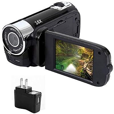 ZHINAN HD 1080P Vlogging Camera, Digital Camera Camcorder 16MP 2.7-inch TFT-LCD Digital Video Recorder, 16 MP 16X Digital Zoom + LED Light Support 32G TF Card, for Sports Concerts by ZHINAN
