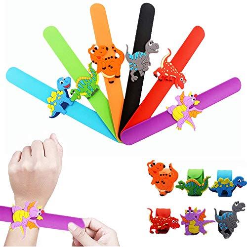 FLOWERBB 6PCS Dragon Dinosaur Animal Theme Slap Bracelets silicone Wristbands for Kids Birthday Party Favor
