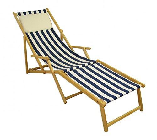 Erst-Holz Strandliege blau-weiß Liegestuhl Holzliege Buche Natur Fußteil Kissen klappbar 10-317 N F KH