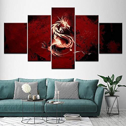 Canvas Schilderij Draak abstract teken 5 Stuks Muur Schilderkunst Wallpapers Poster Print voor woonkamer Home Decor x 40x60 40x80 40x100cm geen frame