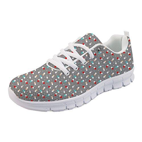 Coloranimal Happy Pills Pattern Gymnastiksport Laufen Walking Sneakers Jogging Flats, Happy Pills, 39 EU