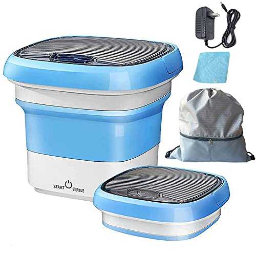 portable clothes washers Mini Washing Machine,Ultrasonic Folding Washing Machine with Bag and Towel,10W Super Energy Saving Portable Washer,Mini Washer for Baby Clothes,Socks in Apartments,Camping,Traveling,Fully Automatic(Blue)