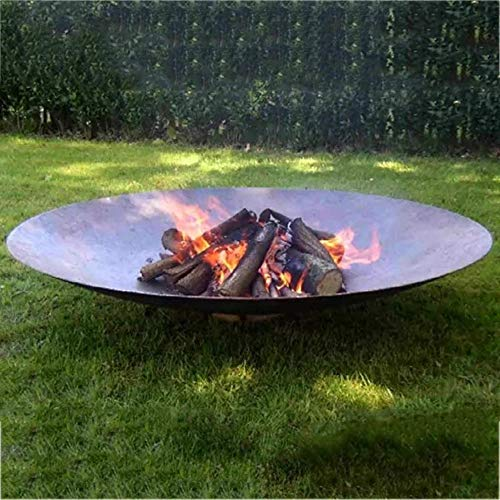 Y DWAYNE Large Cast Iron Garden Fire Pit Basket for Party,Oversize Round Fire Pit,Outdoor Heater Firebowl Wood Burning,Heavy Duty Metal Fireplace for Charcoal Burning