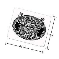 リングセルティックバイキングの戦士のタトゥーのサークル北欧神オーディンウルフと剣のグラフィック ラップトップおよびコンピューター用のマウスパッドノンスリップ防水ゴムゲームマウスパッド長方形