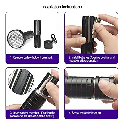 Escolite UV Flashlight Black Light, 100 LED 395 nM Ultraviolet Flashlights UV blacklight Detector for Dog Urine, Pet Stains and Bed Bug, Matching with Pet Odor Eliminator 8