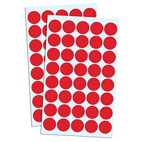 2000 Stück, 20mm Punktaufkleber Klebepunkte Aufkleber Etiketten Markierungspunkte Selbstklebende - Rot