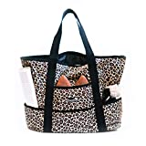 Dejaroo Water-Resistant Weekend Overnight Bag - Beach/Toy Tote Bag - Large Lightweight Market, Grocery & Picnic Tote with Oversized Pockets (Leopard with Black)
