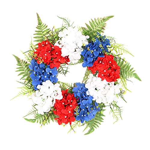Baoblaze American Patriotic Wreaths, 17.7'' Red White and Blue Hydrangea Flower Garland Front Door Decor, July of 4th Independence Day Holiday Party Decoration