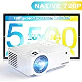 "Projector with 100"" Projector Screen, TOPVISION 5500L Mini Outdoor Movie..."