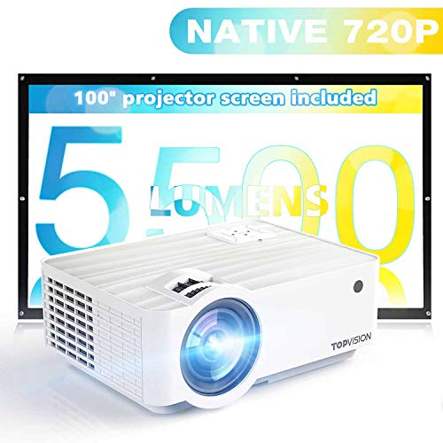 "Projector with 100"" Projector Screen, TOPVISION 5500L Mini Outdoor Movie Projector with HI-FI Speakers,1080P and 240"" Supported, Compatible with HDMI, VGA, USB, TF, AV, PS4"