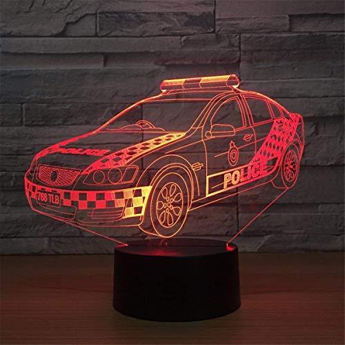 DCLINA Lámpara luz Nocturna Coche policía 3D, 7 Cambios Color, LED táctil, Mesa USB, Regalo, Juguetes para niños, decoración, Decoraciones, Navidad, San Valentín, Regalo, Regalo cumpleaños