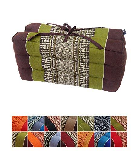 Collumino - cuscino tradizionale Thai pieghevole in kapok, ideale per yoga e meditazione. Con maniglia per il trasporto , Verde, marrone.