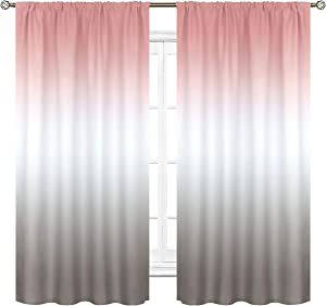 Cinbloo Ombre Blush Pink and Gray Curtains Rod Pocket Gradient Color Window Drapes Women Baby Girls Bedroom Decor Pale Art Printed Living Room Window Treatment Fabric 2 Panels 42 (W) x 63(L) Inch