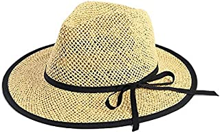 CHENDX Hat New Seaside Sun Protection Sun Hat Straw Hat Hand-Woven Paper Rope Wrapped Panama Hat Holiday Visor Beach Hat (Color : Beige, Size : 54-55cm)