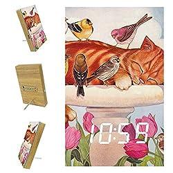Digital Alarm Clock for Bedrooms Kitchen Office 3 Alarm Settings Radio Wood Desk Clocks - Cat Flower Bird