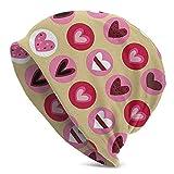 Lsjuee Unisex Soft Slouchy Beanie Knit Sombreros Bonitas formas de corazón con puntos Gorra larga holgada con calavera Invierno Verano Esquí Sombrero holgado Negro
