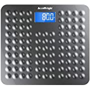 "Accuweight Anti-Skid Surface Digital Bathroom Body Weight Scale with 3.6"" Backlight Display and Step-on Technology, 400lb/180kg, Gray"