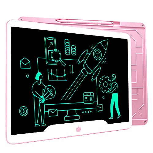 Richgv Tableta de Escritura LCD 15 Pulgadas, Pizarra Digital Talla Grande, Juguetes para niños para Dibujar y Escribir en casa, la Escuela, al Aire Libre (Rosa)