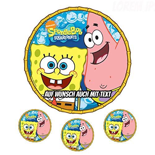Tortenaufleger aus Zuckerpapier - Tortenbild Geburtstag Tortenplatte Zuckerbild Motiv: Spongebob