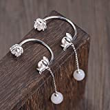 925 Plata De Ley Pendientes Colgantes,Pendientes Para Mujer Plata Semicírculo Lotus Borla Simulación Hetian Jade Bud 925 Sterling Silver Charm Stud Earring Hipoalergénico Jewelly Gift For Men Lad