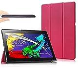 Theoutlettablet® Funda Slim para Tablet Lenovo Tab 2 A10-30F. Protección Delantera y Trasera. Color Rosa Fucsia + 2 Protectores de Pantalla