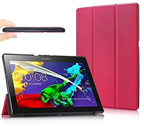 Theoutlettablet Funda Slim para Tablet Lenovo Tab 2 A10-30F. Protección Delantera y Trasera. Color Rosa Fucsia + 2 Protectores de Pantalla