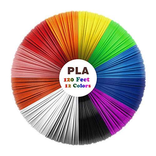 Filamento de 3D Pluma PLA, Uzone 12 Colores 1.75 mm 10 Pies por Color Total de 120 Pies Alta Calidad Pluma de Impresión 3D Filamento 3D Pluma Filamento para Más Inteligente Pluma 3D