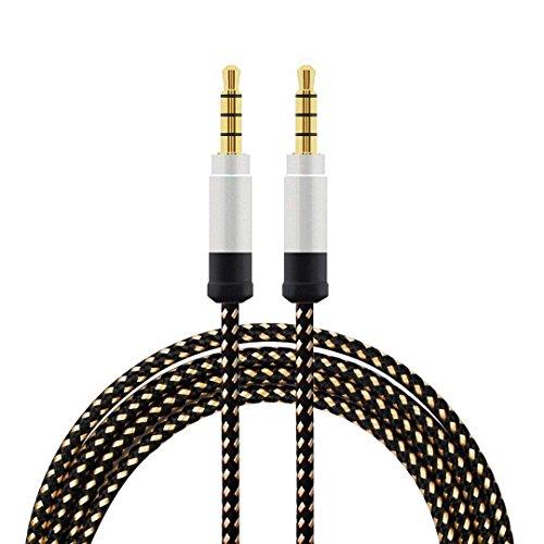 SODIAL nero Cavo audio metallico intrecciato di 1,5 metri di alta qualita  Cavo audio AUX da 3,5 mm