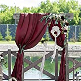 XHONG Cortinas románticas de 18 pies para boda, cortina de gasa de una sola pieza, visera solar, fondo de tela, tela de gasa para colgar en la boda, fiesta, mesa, decoración de arco (rojo vino)