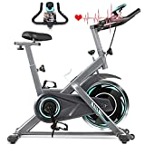 ANCHEER Indoor Exercise Bike Stationary, 40Lbs Cycling Bike with Heart Rate Monitor & LCD Monitor, Comfortable Seat Cushion, Heavy Flywheel Upgraded, Multi - Grips Handlebar