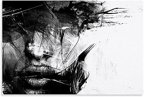 XIANGY Cuadro abstracto de cara en blanco y negro (60 x 80 cm)