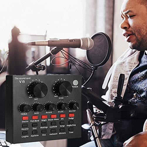 XuBa V8 - Tarjeta de Sonido Multifuncional, Interfaz de Audio USB, Volumen Inteligente, Mezclador de Audio Ajustable, Tarjeta de Sonido para grabación de Voz de alojamiento