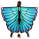 HITOP Women Halloween Party Butterfly Wings Shawl for Girls Adult Festival Costume Wear Dress Up Cape (Blue)