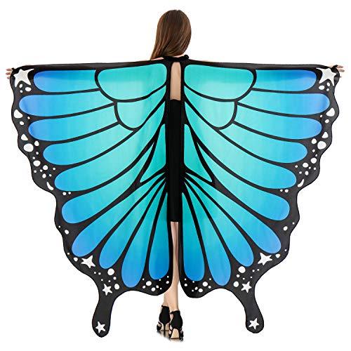 HITOP Women Halloween Party Butterfly Wings Shawl for GirlsAdult Festival Costume Wear Dress Up Cape (Blue)