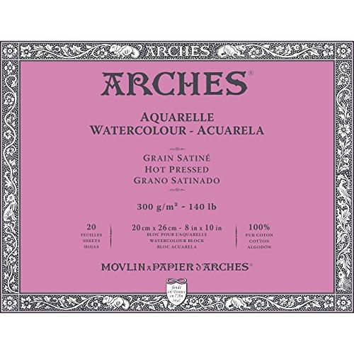 Arches Watercolor Paper Block, Hot Press, 8' x 10', 140 pound