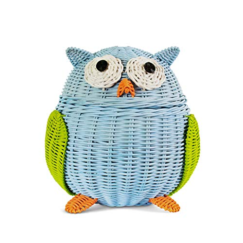 G6 COLLECTION Owl Rattan Storage Basket With Lid Decorative Home Decor Hand Woven Shelf Organizer Cute Handmade Handcrafted Gift Art Decoration Artwork Wicker Hoot Owl (Small, Blue)