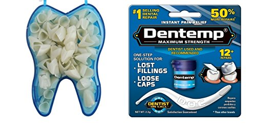 Dental Temporary Crown Kit Anteriors Box/50 + Dentemp Maximum Strength Dental Temporary Cement Loose Caps Repair