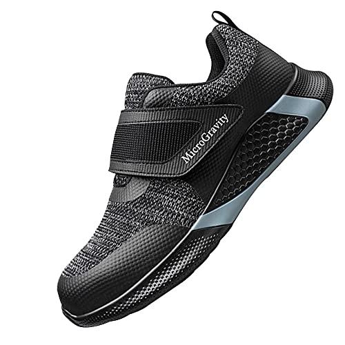 Hombre Zapatos de Seguridad,Punta de Acero Zapatos Ligero Zapatos de Trabajo Respirable Construcción Zapatos Botas de Seguridad,Black 1▁48